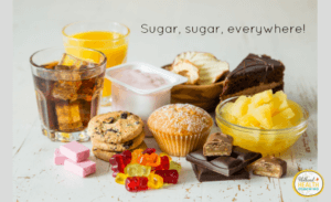An image to help explain the glycemic index. Shown are sweet tooth foods like soda, sugared muffins and gummy bears are sugar spikers in the body.