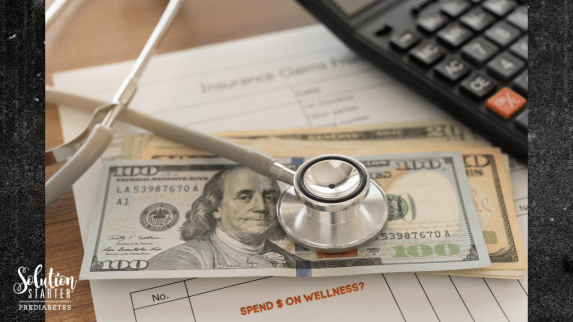 A stethoscope sits atop a stack of US dollars. The healthcare cost for someone with Prediabetes, who later moves onto Type 2 Diabetes, is more than $13,000 per year. This is double the cost of healthcare for a healthy person.
